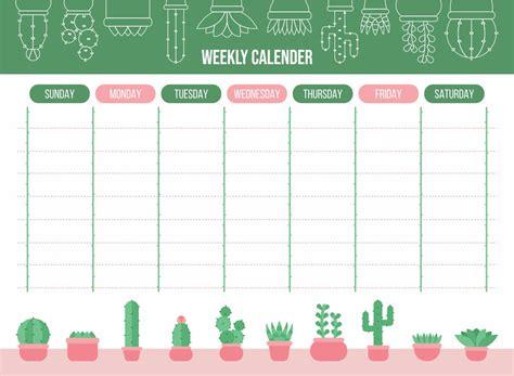 cute printable weekly calendar template