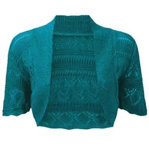 crochet knitted bolero shrug in teal