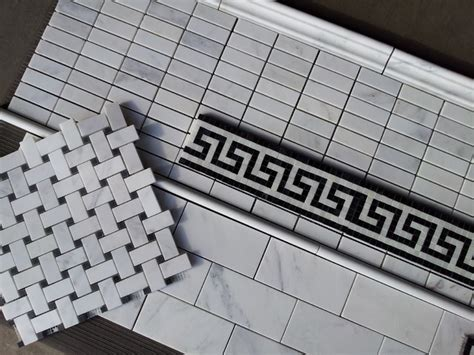 carrara 1x3 quot mosaic and carrara subway tile along with