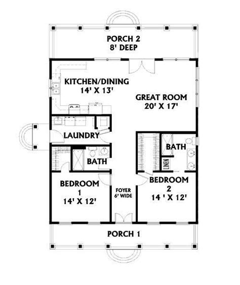 2 Bedroom House Plans With Porches by Unique 2 Bedroom House Plans With Porches New Home Plans