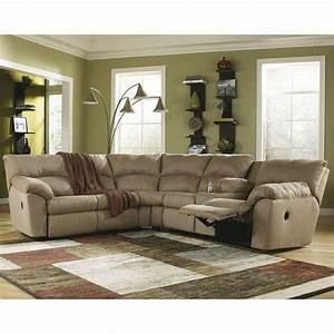 Ashley furniture amazon 2 piece fabric reclining sectional for Ashley amazon mocha reclining 2 piece sectional sofa