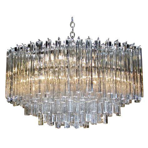 glass prism chandelier oval venini italian triedi prism chandelier