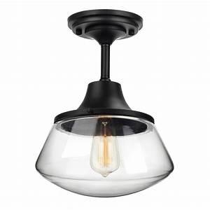 Petronius, Industrial, Semi, Flush, Mount, Ceiling, Light, Clear, Glass, Pendant, Lighting, Shade, Edison