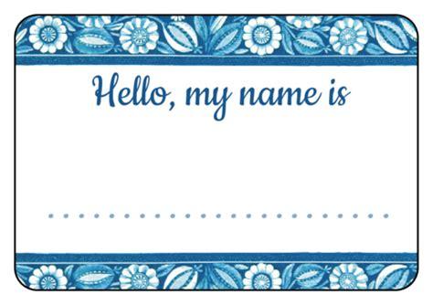 blue floral  tag label