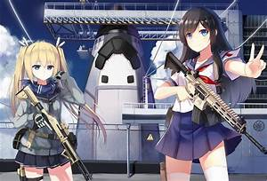Yuri, Shoutu, Blonde, Blue, Eyes, Original, Characters, Anime, Anime, Girls, School, Uniform, Gun