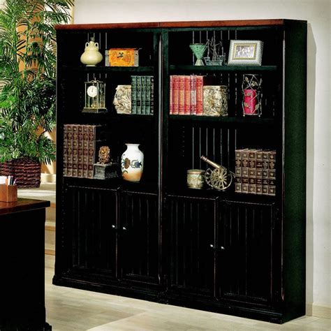 Black Bookcase With Doors   EVA Furniture