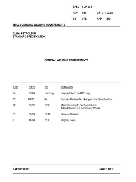 DP-W-5 General Welding Requirements | Specification