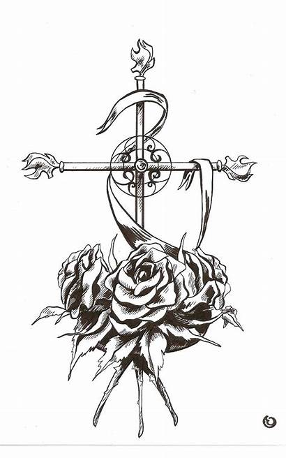 Roses Cross Drawings Drawing