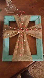 Use a frame burlap to make this hanging cross wall art