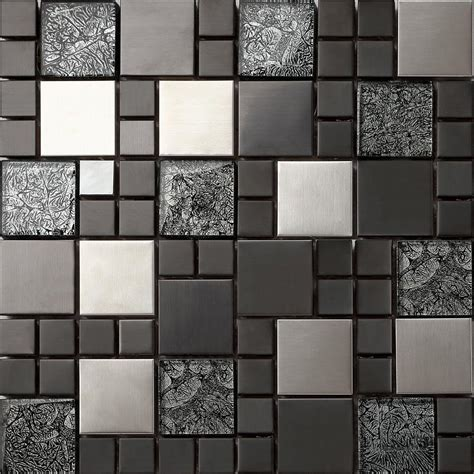 metallic brushed steel black hongkong glass mosaic tiles