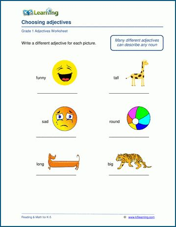 choosing adjectives worksheets  learning