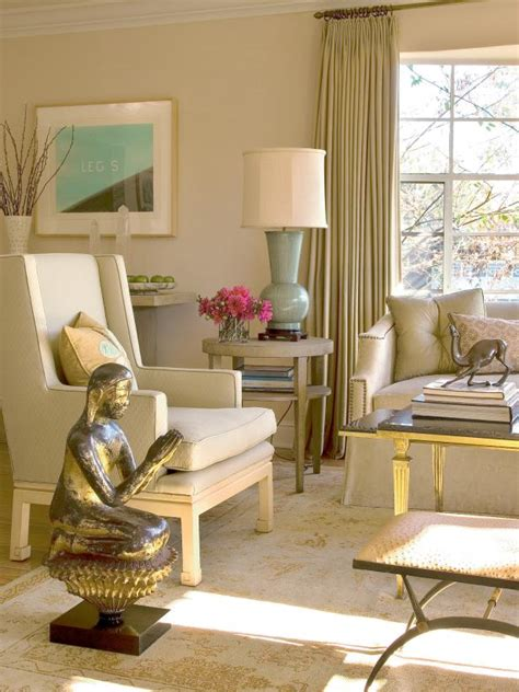 beige living room  gold accents hgtv