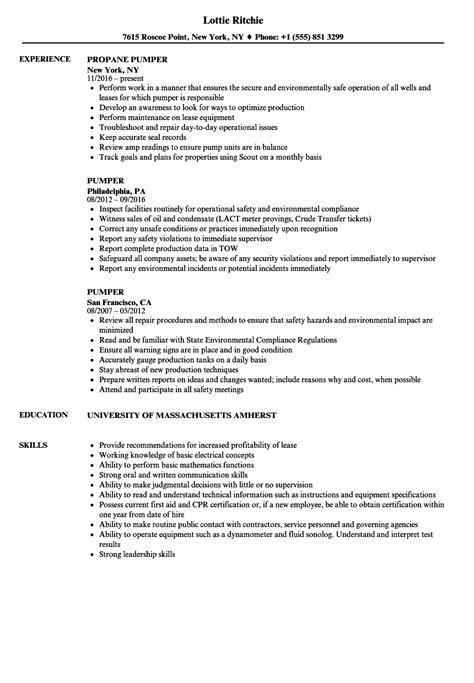Pumper Resume Samples | Velvet Jobs