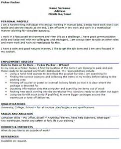 packer description resume picker packer cv exle icover org uk