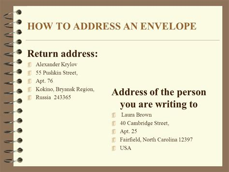 How To Properly Write An Address On A Resume by How To Write A Letter You Want To Find A Pen Pal Ppt