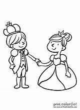 Princess Holding Hands Prince Coloring Ball sketch template