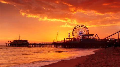 sunset  santa monica beach stock footage video