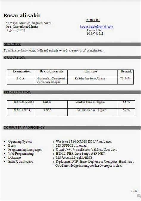 bca fresher resume format doc