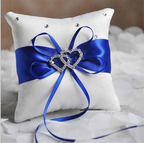 1 x wedding ceremony ring bearer pillow cushion royal blue