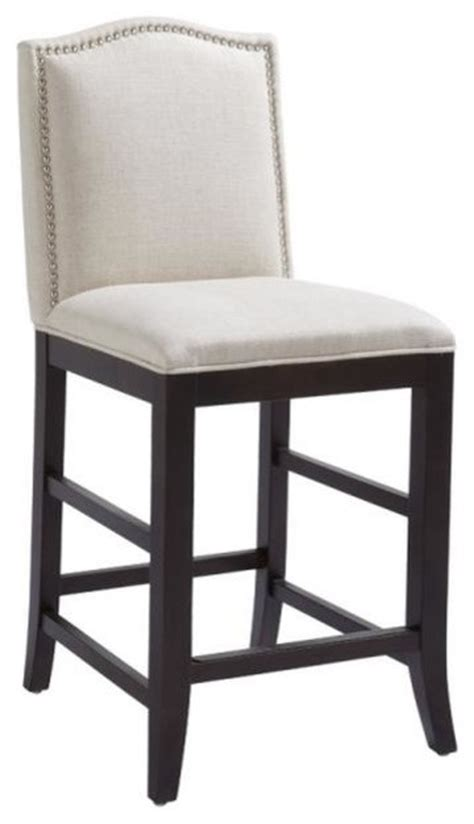 fabric stool with nailhead trim bar height transitional