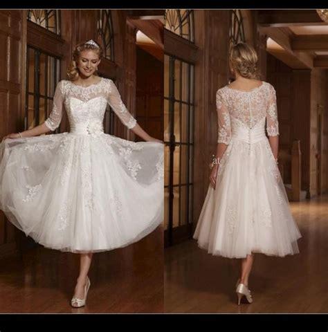long sleeve   white  short wedding dresses scoop