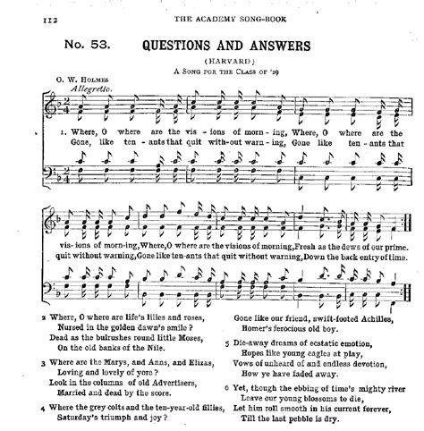 questions and answers harvard aulde college songs