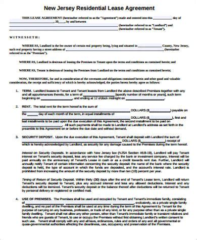 sample lease agreement  examples  word
