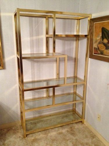 gold metal bookcase outstanding gold metal and glass display shelf great shape