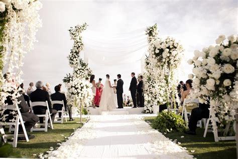 All White Beach Ceremony & Sophisticated Ballroom Reception   Inside Weddings