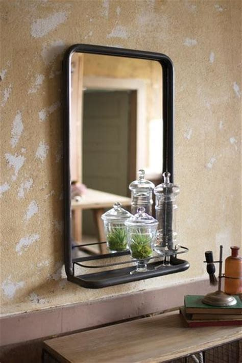 Black Industrial Bathroom Mirror metal frame pharmacy mirror with shelf industrial by