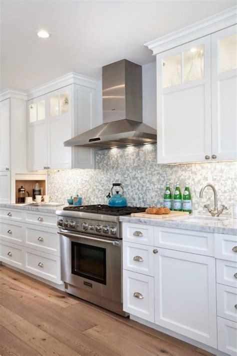 brushed nickel cabinet pulls kitchen with 12 shaker appliance panel bookshelf cabinets blue mosaic tile backsplash contemporary kitchen