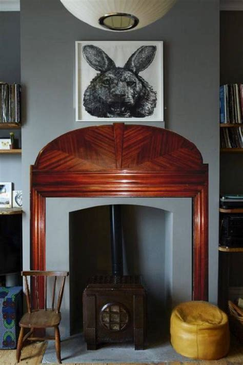 buy   art deco mahogany wood mantel fireplace