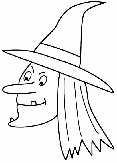Witch Coloring Halloween Pages Witches Face Printable