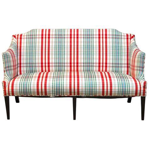 Settee Origin by Modern Sheraton Style Plaid Settee Sofa At 1stdibs