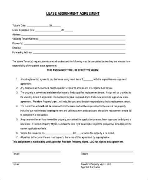 free assignment of lease form lease form sle 9 free documents in word pdf
