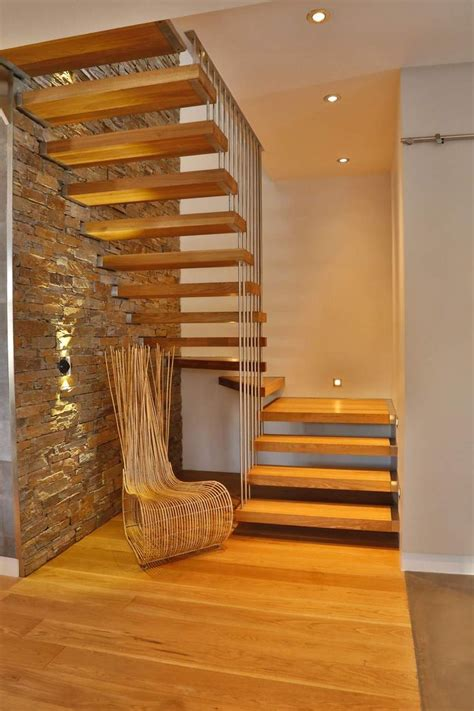 escalier bois  metal en chene blanc en  escalier