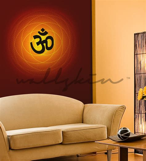 buy wallskin spiritual om effect red pvc wallpaper