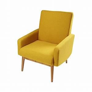 Canapé Jaune Maison Du Monde : fauteuil vintage en tissu jaune kelton maisons du monde ~ Teatrodelosmanantiales.com Idées de Décoration