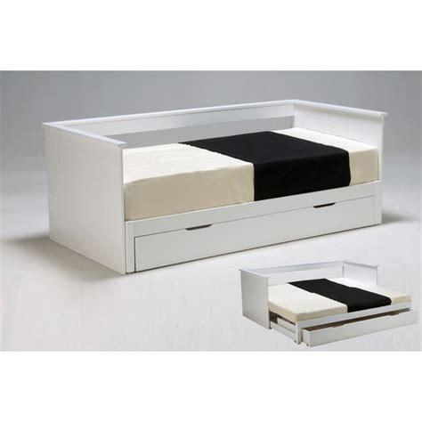 lit blanc laque pas cher lit gigogne mona 90x190cm tiroir de rangement laqu 233 blanc acheter moins cher