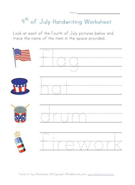 free fourth of july worksheets for kindergarten fourth of july worksheet handwriting