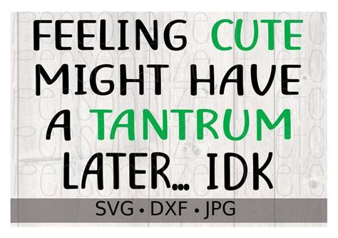 Our free svg cut files are a file type that can be scaled to use with cricut, silhouette and other svg cutting machines. Feeling Cute Might Have A Tantrum Later... IDK svg file ...