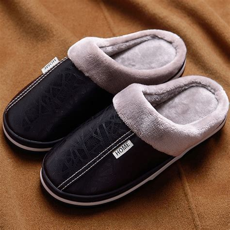 slip large size   leather house slippers men winter