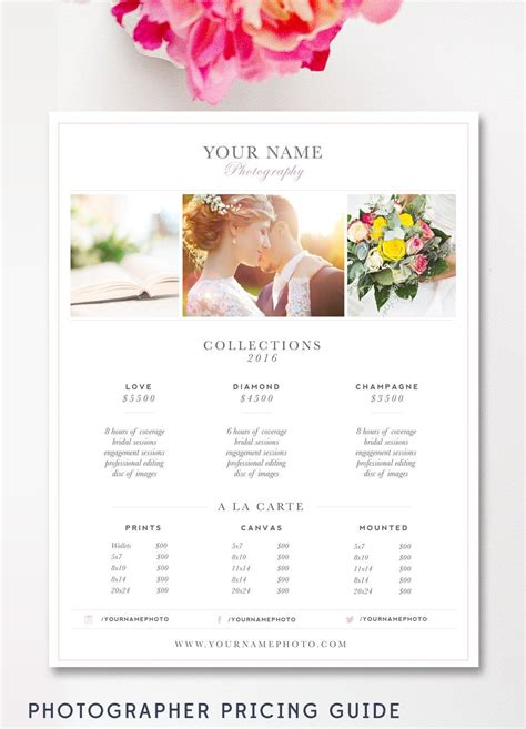 photography price list template wedding photography