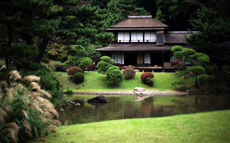 japan flowers houses spring pond japanese gardens