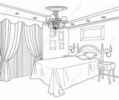 Coloring Pages Bedroom Interior Drawing Sketch Bed