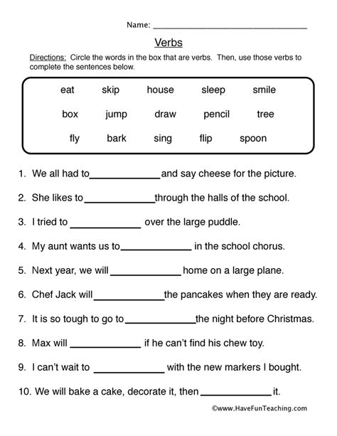 verb worksheet 1 fill in the blanks