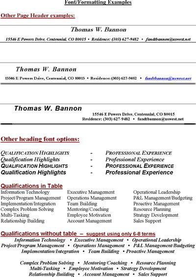 free sle resume headings