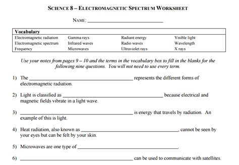 waves and electromagnetic spectrum worksheet resultinfos