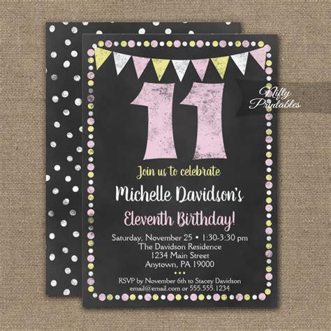 birthday invitation pink yellow chalkboard printed