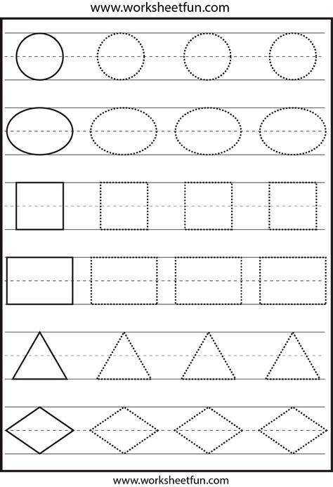 Shapes Tracing  1 Worksheet  Free Printable Worksheets Worksheetfun